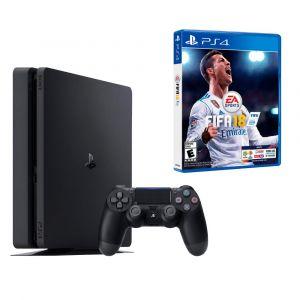 CONSOLE PS4 SLIM JET NOIR 500 GO avec FIFA 2018