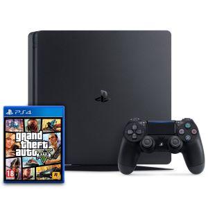 CONSOLE PS4 SLIM JET NOIR 500 GO avec GTA V