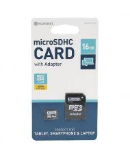 CARTE MÉMOIRE PLATINET microSDHC 16 GB Class 10 + SD adapter