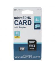 CARTE MÉMOIRE PLATINET microSDHC 8 GB Class 6 + SD adapter